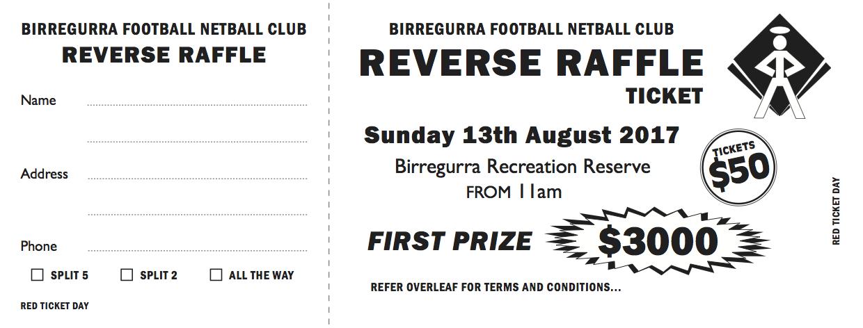 Reverse raffle Birregurra Saints
