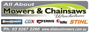All About Mowers and Chainsaws Logo with Suppliers Logos